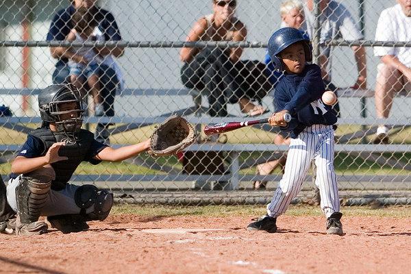 #03 J.J. Zaragoza at bat. Pinto North Side Yankees vs. Tigers, 2006 Ocean View Pony Baseball, Pinto Division.