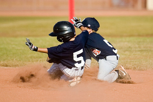 #05 Nick Arroyo sliding safely into 2nd base just under the tag. Pinto North Side Yankees vs. Tigers, 2006 Ocean View Pony Baseball, Pinto Division.
