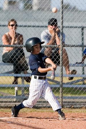 #11 James Torres at bat making contact with the ball. Pinto North Side Yankees vs. Tigers, 2006 Ocean View Pony Baseball, Pinto Division.