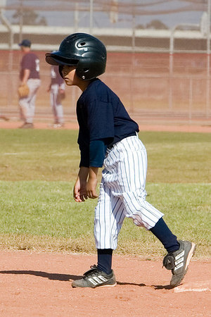 #02 Anthony Cortez at 2nd base. Pinto North Side Yankees vs. Tigers, 2006 Ocean View Pony Baseball, Pinto Division.