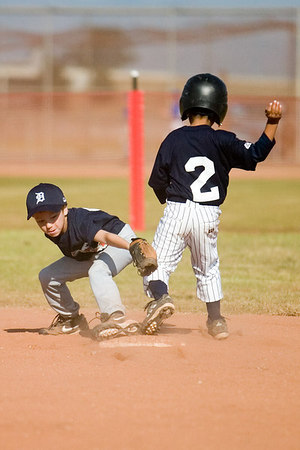 #02 Anthony Cortez safe on 2nd base just ahead of the tag. Pinto North Side Yankees vs. Tigers, 2006 Ocean View Pony Baseball, Pinto Division.