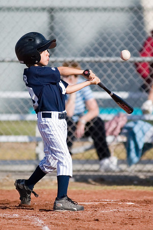 #10 Alec Hunter at bat. Pinto North Side Yankees vs. Tigers, 2006 Ocean View Pony Baseball, Pinto Division.