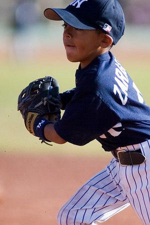 #03 J.J. Zaragoza fielding the ball at 2nd base. Pinto North Side Yankees vs. Tigers, 2006 Ocean View Pony Baseball, Pinto Division.
