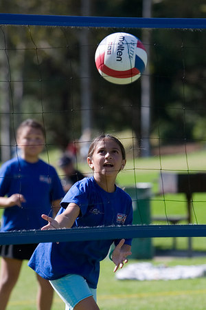Amanda Segura about to bump the ball. Blue Dolphins, US Youth Volleyball League.