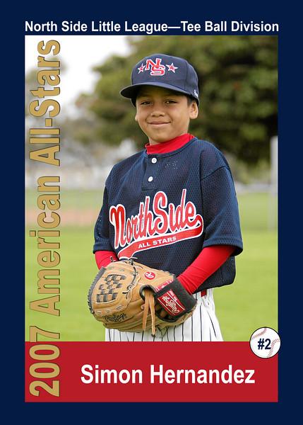 #02 Simon Hernandez. North Side American, 2007 Little League All-Stars, Tee Ball Division