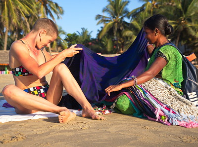 Only a few days prior to reaching Gokarna, my mother had requested some shawls as gifts. As we were lying on the beach during our first afternoon here, a beautiful woman approached me with an armfull of colourful shawls.  After a pleasant interaction I marvelled at how things have a way of working out in India.