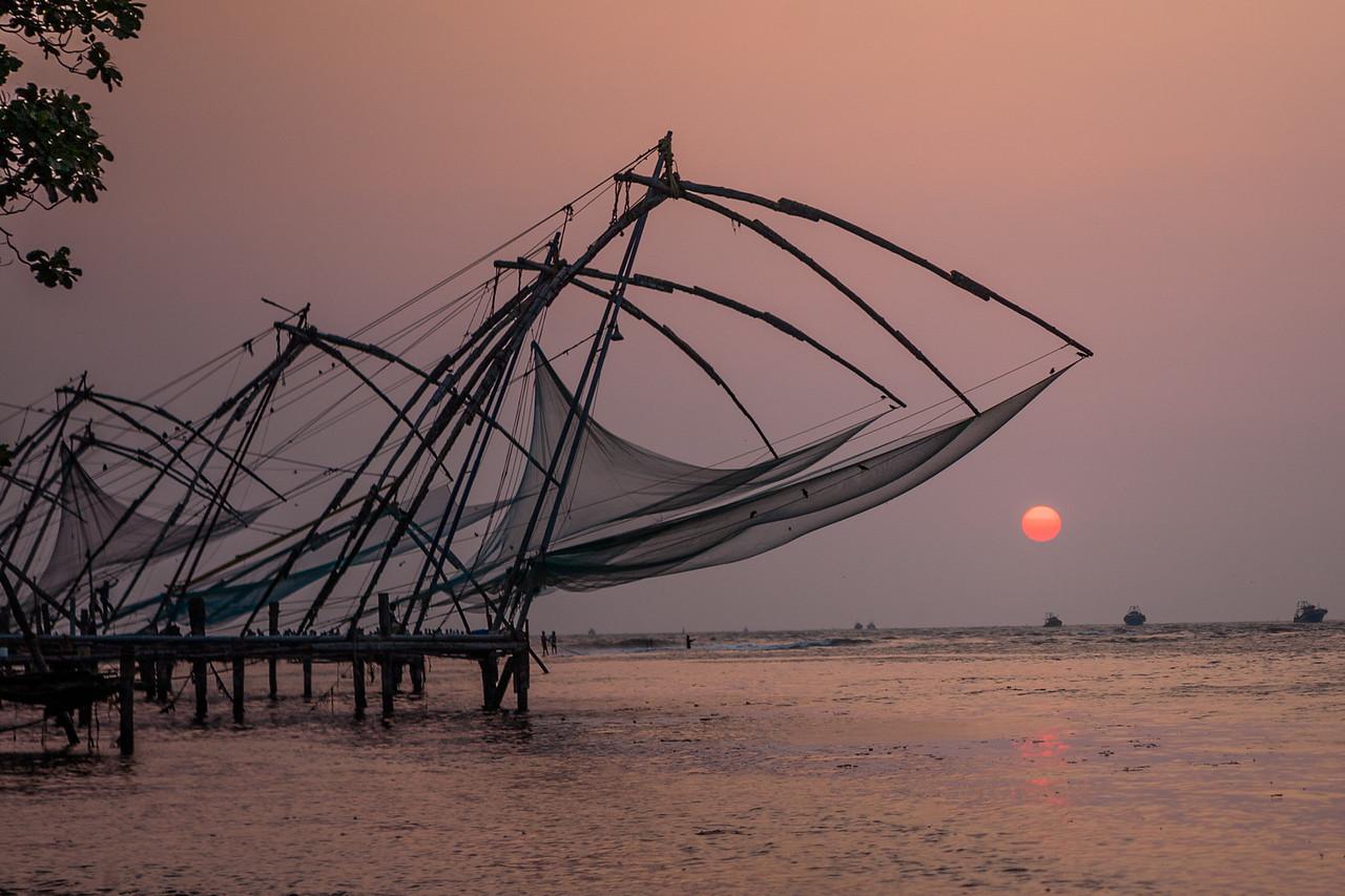 Chinese fishing nets at the beach in Fort Kochi, Kerala