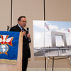 Jerry Pierce, Chairman of the Central Florida Veterans Memorial Park Foundation displays an artists rendention of the new memorial park being built adjacent to the new Central Florida VA Medical Center.