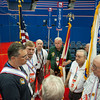 Knights of Columbus Color Corp members discussing final details with a Republican National Convention coordinator.