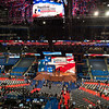 Workers completing final preparations for the opening of the 2012 Republican National Convention.