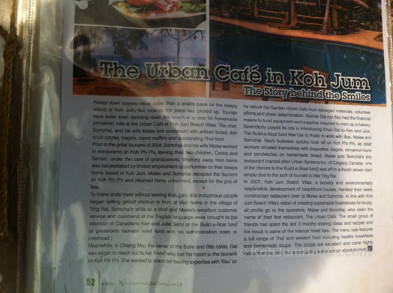 Urban Cafe at Koh Jum Beach Villas