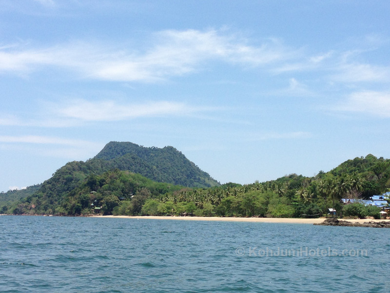 View of Koh Pu mountain and Ting Rai Beach on Koh Jum view from longtail boat
