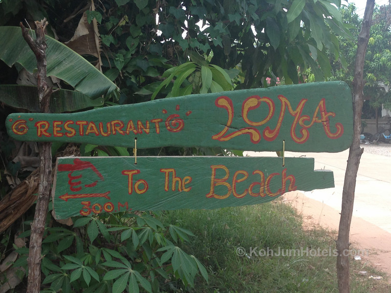 Sign for Bar Loma on Magic Beach Koh Jum