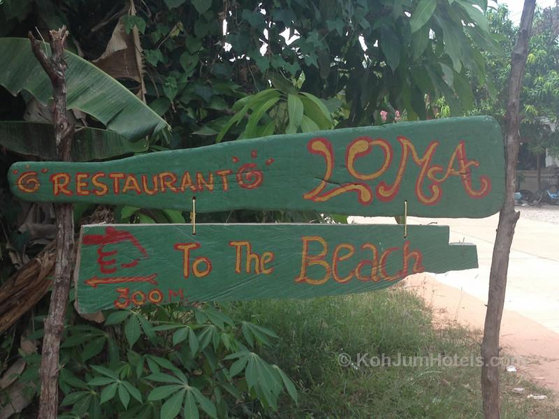 Sign for Bar Loma on Magic Beach Koh Jum