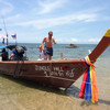 Longtail Boat leaving Ao Si Beach Koh Jum and joing the Krabi to Koh Lanta Ferry