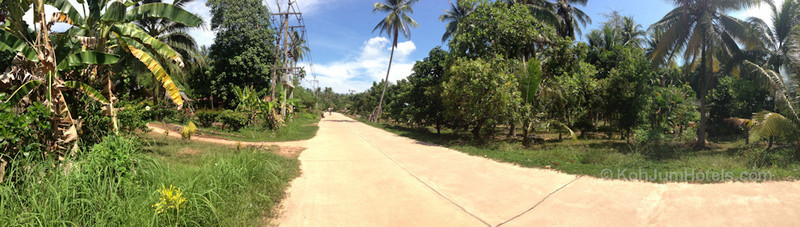 A paved road on Koh Jum