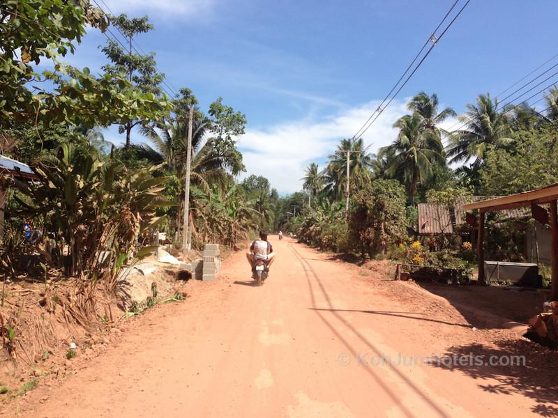 Driving on dusty roads on Koh Jum