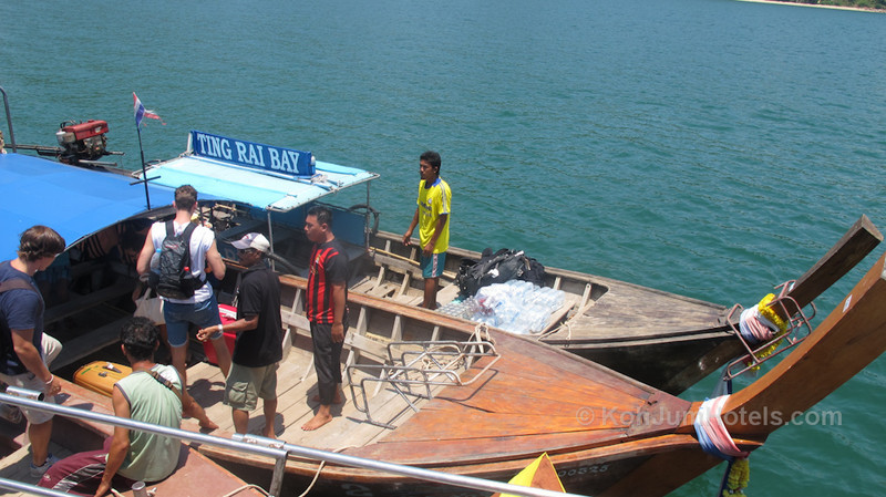 Transferring from the ferry to the Koh Jum longtail