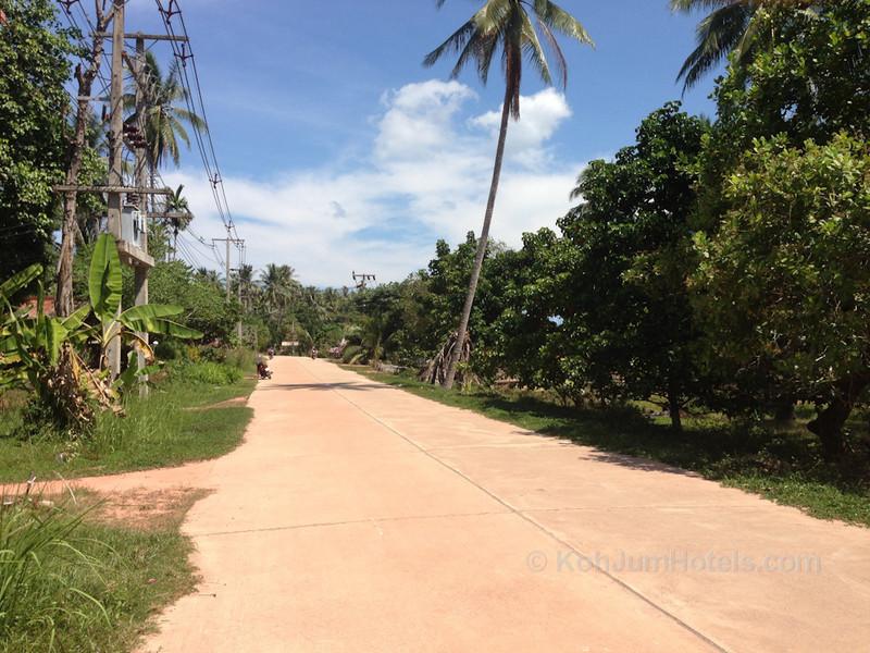 A paved road on Koh Jum
