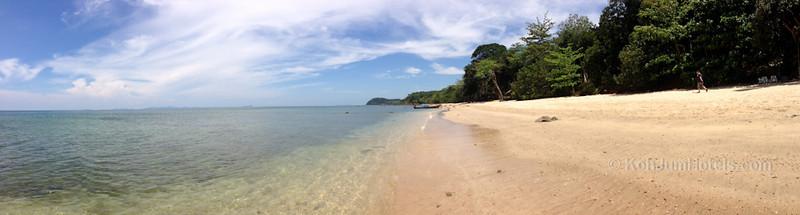 Standing outside Koh Jum Resort looking North along Ting Rai Beach Koh Jum