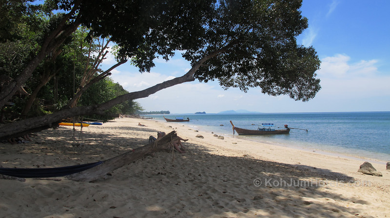 standing in the shade outside Ting Rai Bay Resort looking South along the Ting Rai Beach Koh Jum