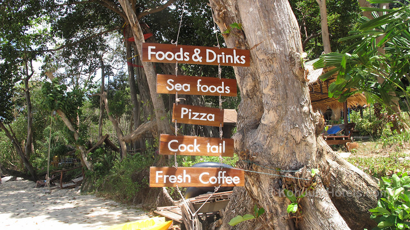 Menu sign on the beach for Ting Rai Bay Resort Ting Rai Beach Koh Jum