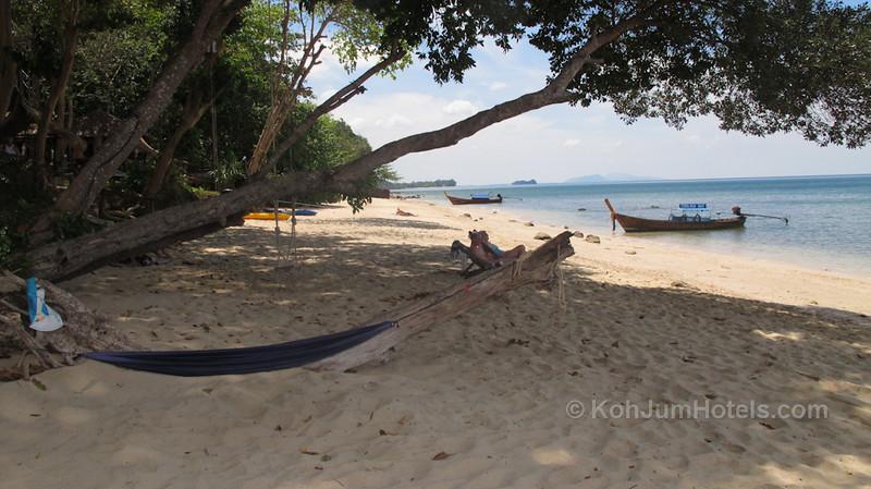 hammock time outside Ting Rai Bay Resort looking South along the Ting Rai Beach Koh Jum