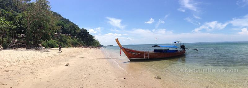 longtail boat from Koh Jum Resort wih the view looking south Ting Rai Beach Koh Jum