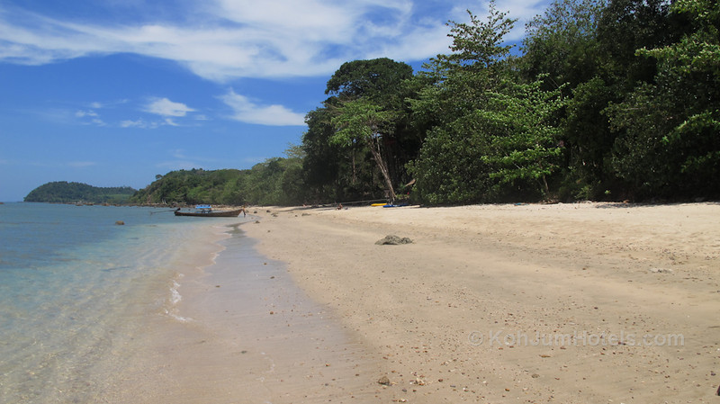 standing between Koh Jum Resort and Ting Rai Bay Resort on a deserted beach Ting Rai Beach Koh Jum