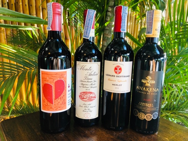 Selection of Red Wine served at Citrus Restaurant Koh Lanta