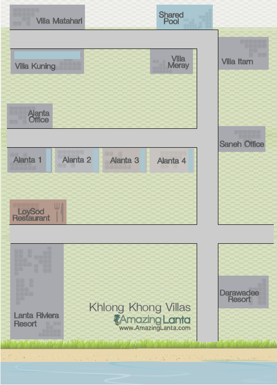 Khlong Khong Villa Location Map, Koh Lanta