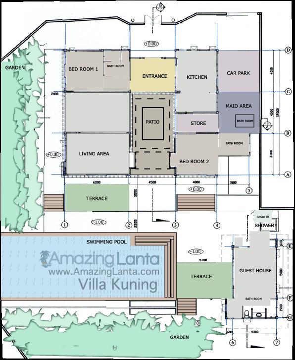 Floor Plan for Villa Kuning, Koh Lanta