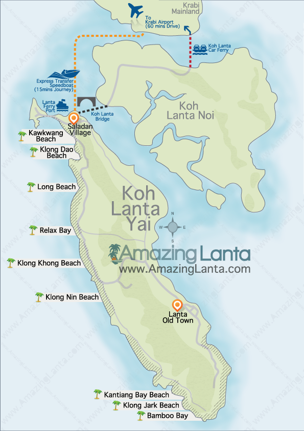 Koh Lanta map, showing minivan and express transfer routes to Krabi mainland