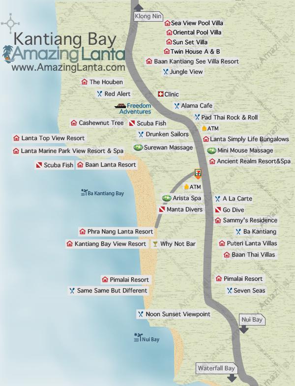 Kantiang Bay, Koh Lanta map