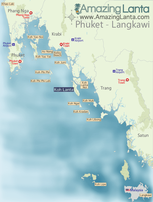 Trang, Krabi and Phuket Map