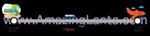 Tub Kaek  to Krabi airport minivan route