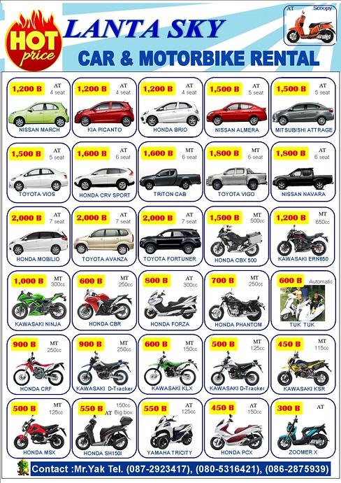 Price List For Lanta Sky Car and motorbike Rental