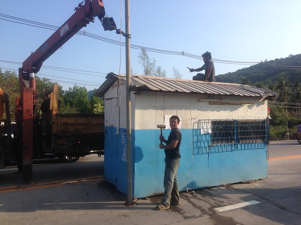 The car ferry ticket booth dismantled
