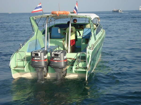 Speedboat with two engines used on private charter
