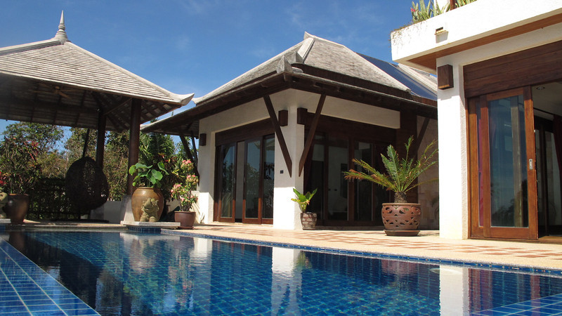 Klong Nin Pool Villa exterior - the sala shaded area (left),  lounge and kitchen (centre), bedroom (right)