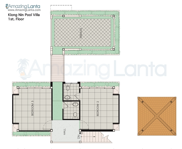 Klong Nin Pool Villa First Floor Floorplan, Koh Lanta