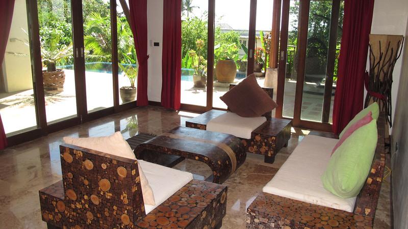 Klong Nin Pool Villa Pool Interior Lounge Area with floor to ceiling windows