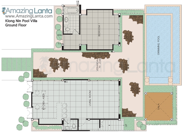 Klong Nin Pool Villa Ground Floorplan, Koh Lanta