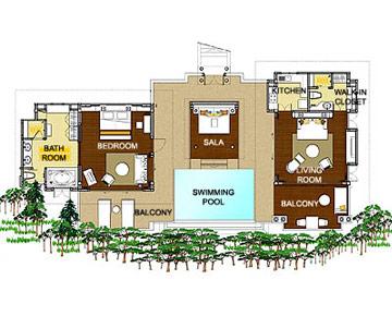 Pimalai One Bedroom Pool Villa Floorplan