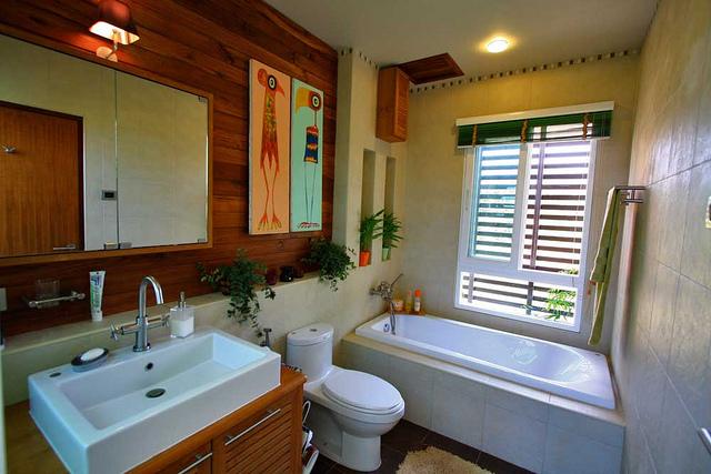 Bathroom one with bath tub