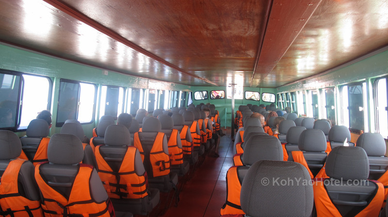 inside the Koh lanta ferry which take you to  Krabi pier