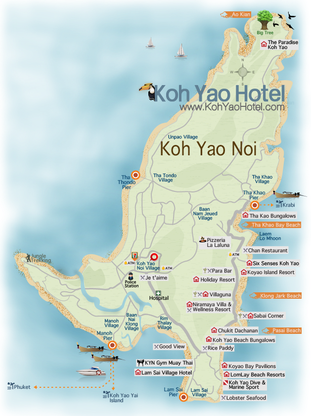 Carte Thailande Koh Yao Yai.Koh Yao Noi Map