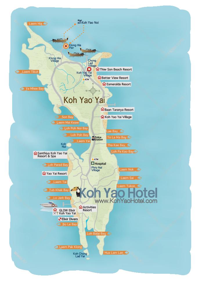 Carte Thailande Koh Yao Yai.Koh Yao Yai Map
