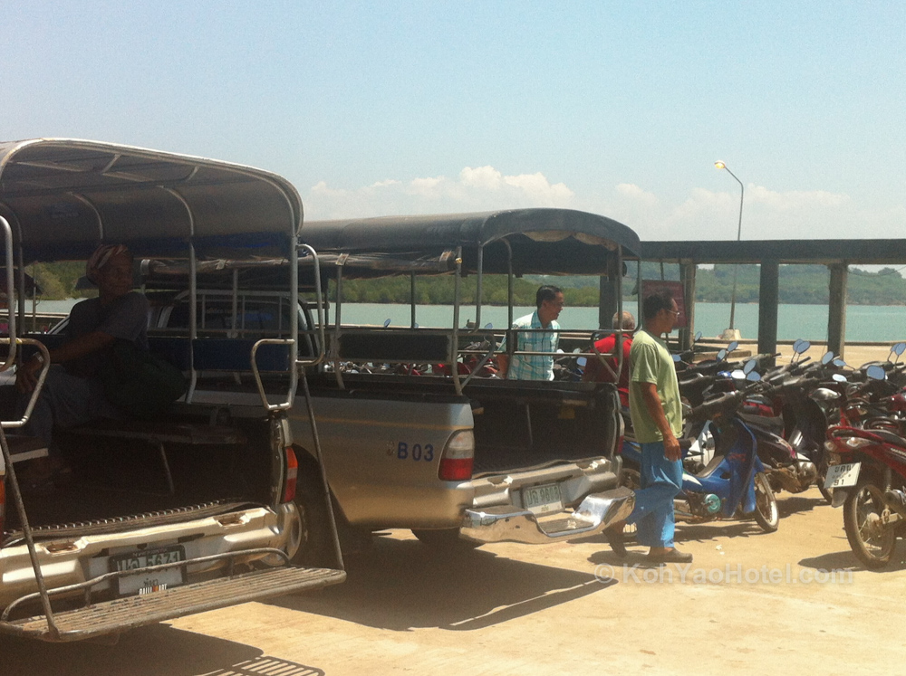 Taxis waiting at Manoh Pier, Koh Yao Noi