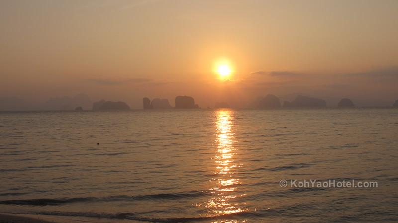 watching the sunrise from klong jark beach koh yao noi